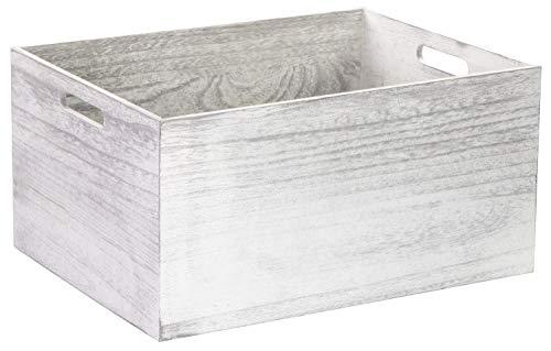 LAUBLUST Vintage Holzkiste mit Griffen - 40x30x20cm, Weiß, FSC® - Aufbewahrungskiste | Geschenkkorb | Deko-Kiste