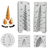 Molde de cuerno de unicornio de silicona Unicorn Cake Toppers con orejas y ojos Set de moldes...