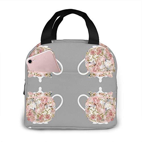 TTmom Teteras y tés Cozies reutilizable aislante, bolsa de almuerzo con bolsillo frontal cierre de cremallera para mujer, hombre, trabajo, picnic o viaje
