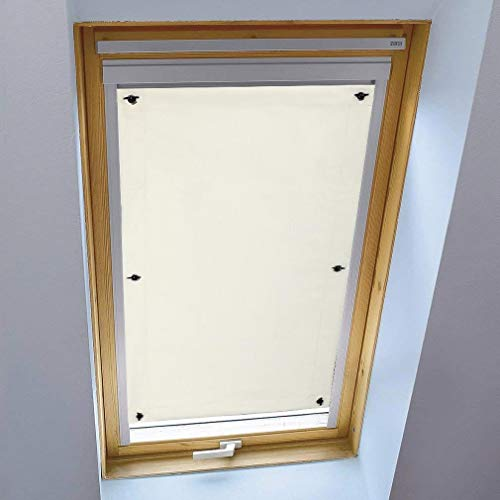iKINLO Thermo Sonnenschutz Dachfensterrollo für Velux Dachfenster MK08 ohne Bohren Verdunklungsrollo Rollo UV Schutz mit Saugnäpfe, Beige 60 x 120 cm