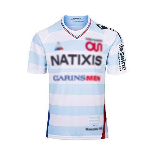 Herren Rugby-Trikot, 2018 Frankreich RAClNG92 Rugby-T-Shirt, Kurzarm-Rugby-Uniform, Fußballspiel-Trainings-Poloshirt M