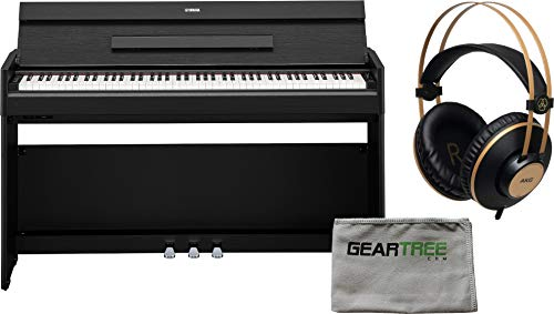 Cheapest Prices! Yamaha YDP-S54 Slim Design Digital Piano (Black Walnut) w/Headphones and Cloth