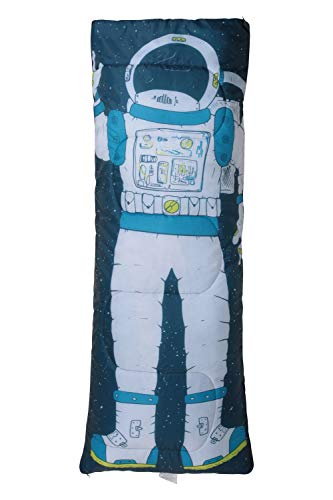 Mountain Warehouse Basecamp 200 Mini Sleeping Bag - 2 Season, 160 * 65cm, Insulated Kids Travel Sleep Essential Blue