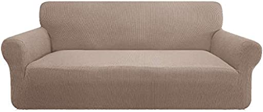 Marchtex Stretch Sofa Covers 1 Piece Furniture Protector Couch Cover Feature Rich Textured Lycra High Spandex Small Checks Jacquard Fabric Sofa Cover Lounge Cover for 3 Seater (Sofa: Sand)
