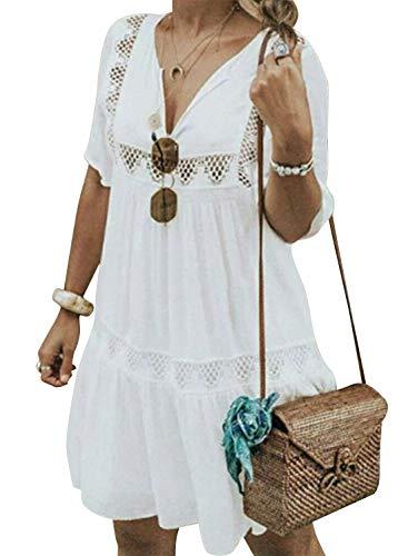 Cindeyar Damen Sommerkleider V-Ausschnitt Strandkleider Einfarbig Kurzarm Casual A-Linie Kleid Boho Kleid (XXL, Weiß)