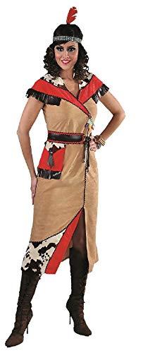 M215102-S - Disfraz de indio squaw para mujer, color marrn y rojo, talla S