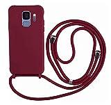 MEIVS Funda Compatible con Samsung Galaxy S9, Ajustable Collar Correa de Cuello CordónCarcasa de Silicona- Rojo