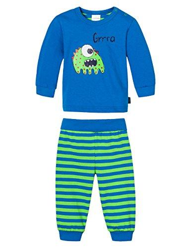 Schiesser Baby - Jungen Zweiteiliger Schlafanzug Baby Anzug 2-Teilig, Gr. 62, Blau (Blau 800)