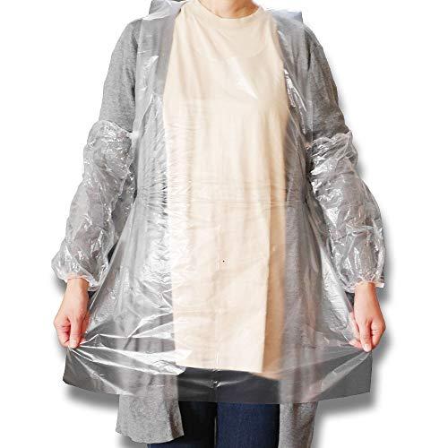 Nash 使い捨て エプロン 透明 袖付き アーム カバー 100枚 セット 防水 業務用 衛生用品