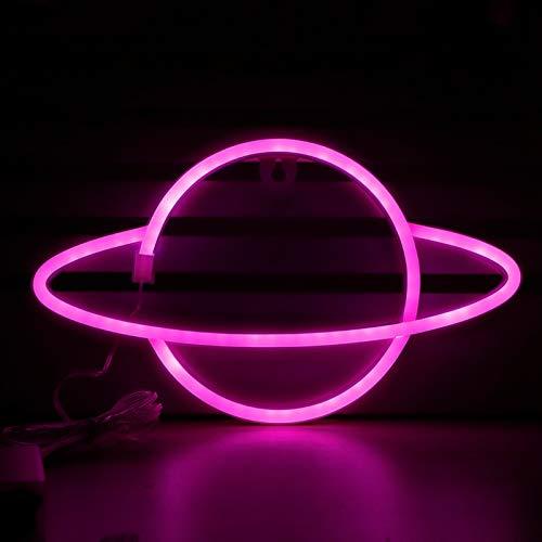 Asixxsix Luz Decorativa de neón LED, Luces de neón con Forma de Planeta de luz Suave, USB o batería no Deslumbrante para la Sala de Estar,(Pink)