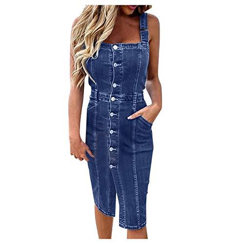 TUDUZ Mode 2021 Jeans Kleid mit Tasten Damen Ärmellos Backless Knielang Party Freizeit Kleider Retro Casual Loose Sommerkleid Streetwear (Blau1, XXL)