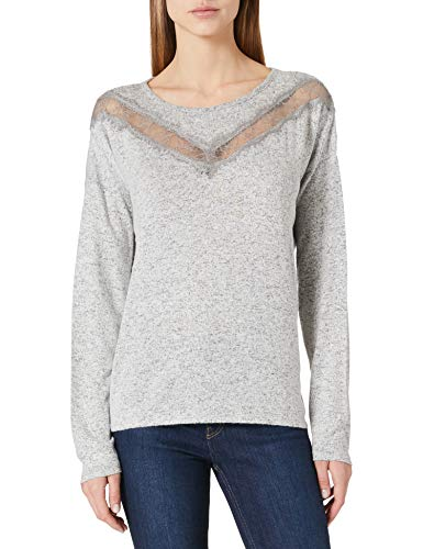 Springfield Camiseta Lace Uve Tacto Suave, Gris Oscuro, L para Mujer