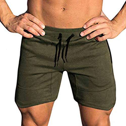 COOFANDY Men's Workout Gym Shorts Weightlifting Bodybuilding Squatting Fitness Jogger with Pockets Army Green