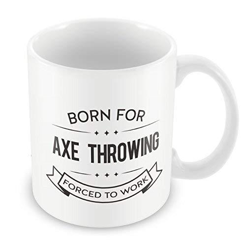 Theemok, witte keramische mok koffiemok geboren voor bijl gooien gedwongen om te werken 11 Ounces