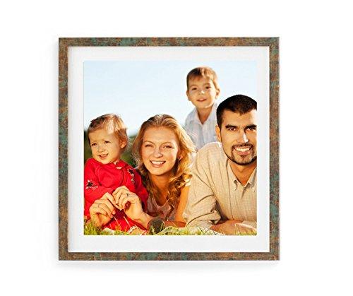 Holz - Rahmen für Bilder quadratisch 15x15 20x20 25x25 30x30 40x40 50x50 mit weißem Passepartout Rahmen zum Aufhängen Farbe Altes Kupfer - Format 50x50