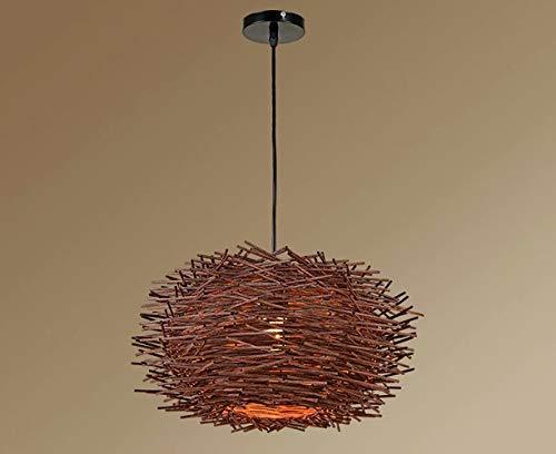 Lámpara colgante de techo con pantalla de madera tejida a mano, lámpara colgante E27 para dormitorio, bar, cafetería, tienda, lámparas de estilo pastoral, diámetro 30-50 cm