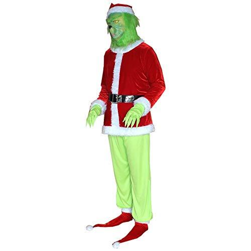 W-life Grinch Costume 2020 Capodanno Halloween Christmas Santa Costume Adulto Cosplay Vestito in Peloso Abiti for Uomo Donne Fancy Dress, 7pcs   Set (Size : XXX-Large)