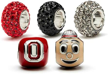 Ohio State Charms Ohio State Brutus Buckeye and Scarlet Block O with Crystal Charms Ohio State product image