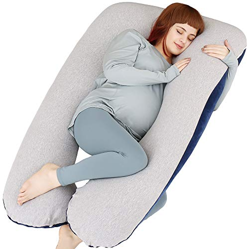 MOON PINE Pregnancy Pillow, U Shape Full Body Pillow for Maternity Support, Sleeping Pillow for Pregnant Women (Blue&Grey-Velvet&Jersey)