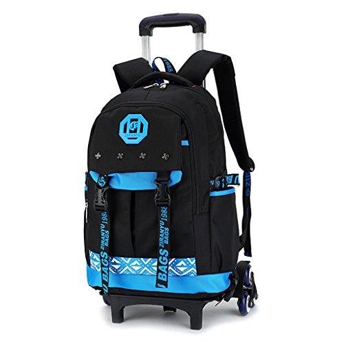 Junge Trolley Schultaschen Rucksack - Kinder Rollen Schulrucksack Schultasche Rucksäcke Rollenreisetasche Sportrucksack für Jugendliche