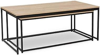 IDMarket - Lot de 2 Tables Basses gigognes Detroit 100/113 Design Industriel