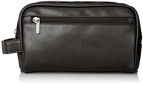Ben Sherman Men's Mayfair Faux Leather Single Compartment Top Zip Travel Kit, Black