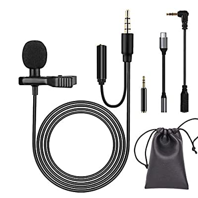 Lavalier Microphone, Professional Omnidirectional Condenser Microphone, Clip on Microphone with 3 Adapters, Support iPhone, Android, PC, Camera, Perfect for Voice Recording, Interview, Singing