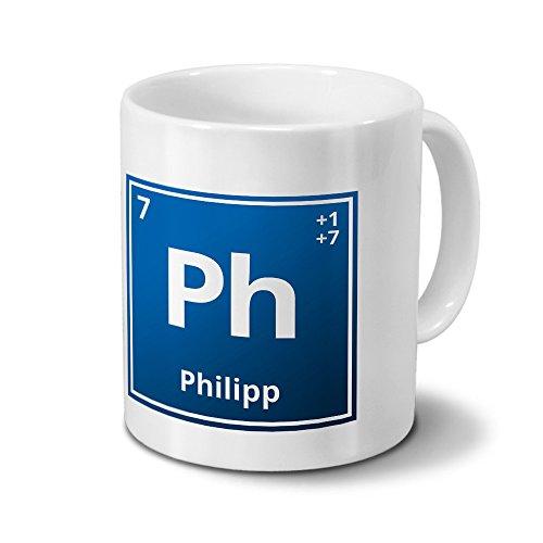 digital print Tasse mit Namen Philipp als Element-Symbol des Perioden Systems - blau - Namenstasse, Kaffeebecher, Mug, Becher, Kaffeetasse