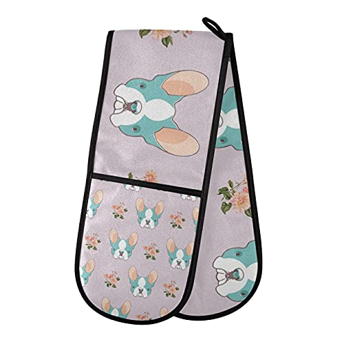 Cotton Double Oven Mitts French Bulldog Flowers Insulation Cooking Gloves Potholder Thick Soft Kitchen Mitten for Microwave BBQ Baking Handling Hot Pots and Pans 35'x7'