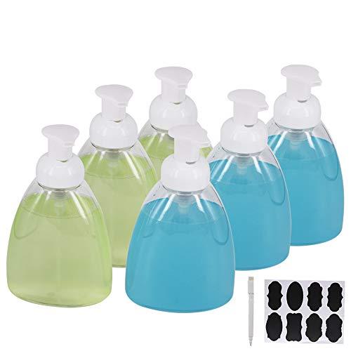 ZMYBCPACK 6 x 473 ml schäumende Seifenspender, Pumpflaschen mit Etiketten und einem Stift, BPA-freier Flüssigseifenspender für DIY-Flüssigseife, Spülseife, Duschgel, Shampoos in Küche und Bad