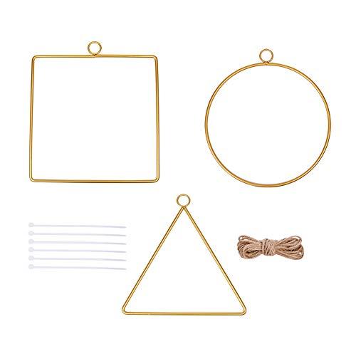 PandaHall Elite - 3 aros de alambre de hierro, diseño geométrico, redondo, triángulo, cuadrado, para colgar en la pared, decoración de boda, color dorado