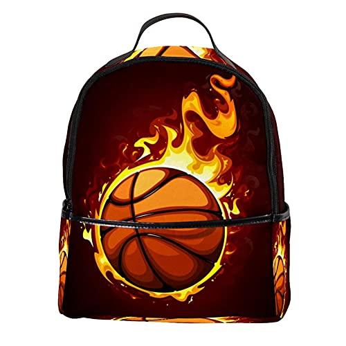 KAMEARI Mochila para escuela Baloncesto Fire-01 Casual Daypack para viajes con bolsillos laterales para botella