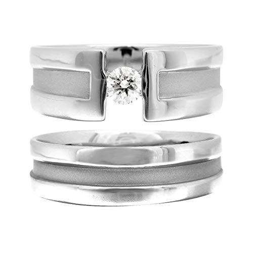 [ココカル]cococaru ペアリング 2本セット K18 ホワイトゴールド 結婚指輪 ダイヤモンド 日本製(レディースサイズ20号 メンズサイズ4号)