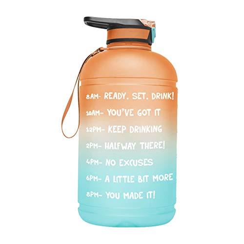 QOTSTEOS Botella de agua motivacional de 1 galón, botella de agua portátil con marcador de tiempo y pajita para gimnasio, entrenamiento, oficina, recreación al aire libre