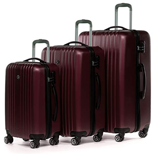 FERGÉ Kofferset Hartschale 3-teilig erweiterbar Toulouse Trolley-Set - Handgepäck 55 cm L XL - 3er Hartschalenkoffer Roll-Koffer 4 Rollen rot