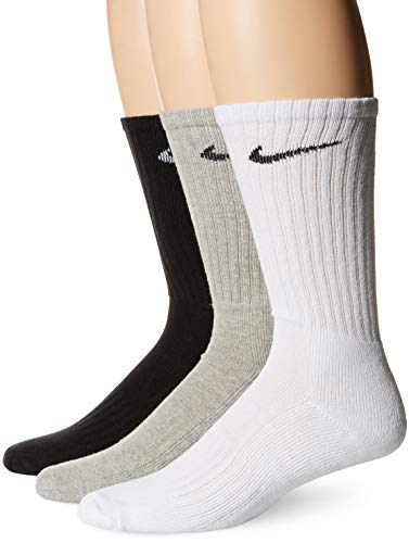 Nike 3Ppk Value Cotton Crew Smlx Calcetines, Unisex Adulto, Gris/Negro/Blanco, M/ 38-42