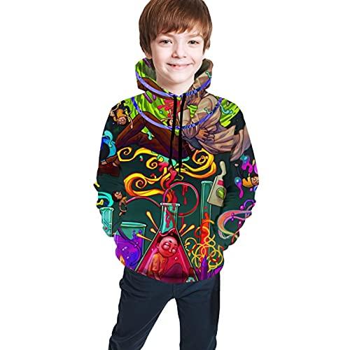 Sudadera con capucha y capucha con capucha y bolsillo con estampado 3D, 2 R-i-c-k y M-o-r-t-y, M