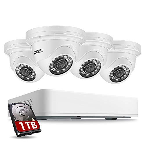 ZOSI 5MP 2K Außen Dome Überwachungskamera System mit 1TB Festplatte 8CH H.265+ HDMI DVR Recorder Plus 4X 5MP (2560 x 1920) Super HD Kamera für Haus Sicherheit