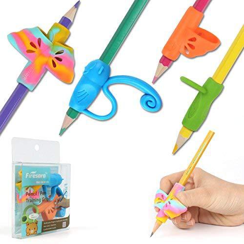 鉛筆もちかた 矯正 鉛筆持ち方 Firesara はじめてセット 202新発売 子供 柔らかい 筆圧 疲労を軽減 鉛筆グリップ 鉛筆セット 面白い勉強セット 握り方矯正 正しい持ち方 蝶々 猿 リング(4個)