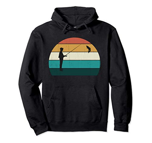 Regalo divertido de pescador: puesta de sol / pesca retro Sudadera con Capucha