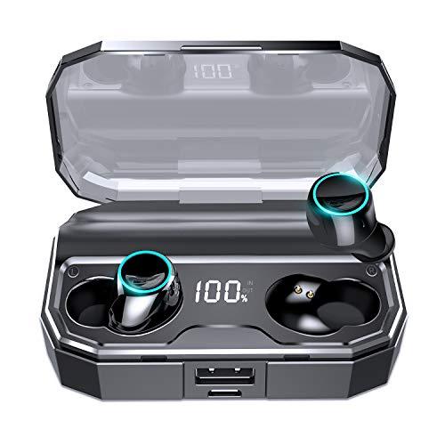 【Bluetooth5.0 イヤホン 120時間連続駆動】 Bluetooth イヤホン ワイヤレスイヤホン IPX7防水 自動ペアリング 自動電源ON/OFF 両耳 左右分離型 3Dステレオサウンド 電池残量インジケーター付き 3500mAh大容量 軽量 Siri/AAC対応 CVC8.0ノイズキャンセリング 技適認証済 iPhone/iPad/Android対応
