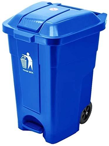 HFFFHA Pedal-Typ Trash Can, Plastikmultifunktions-Hotels Trash Can Wheeled Trash Can Restaurant Außen Abfalleimer Fest - Grau 70l (Color : Blue 50l)