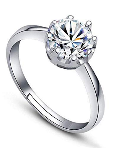 Shining Diva Fashion AAA Solitaire Stylish Silver Plated Platinum Plated Ring for Women