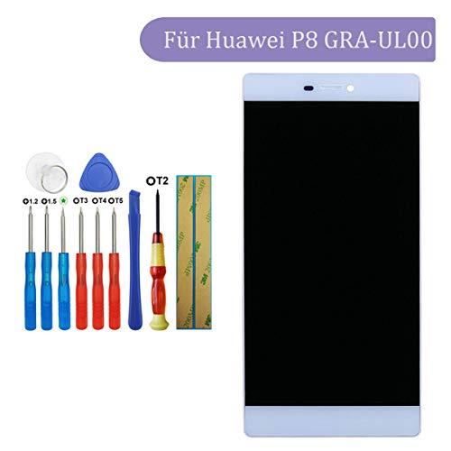 Tangzhi LCD Display Kompatibel mit Huawei P8 GRA-UL00, GRA-L09, GRA-UL10 (weiß with Rahmen) Touchscreen Bildschirm Digitizer Assembly Glas + Tools