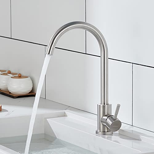 WINDALY Wasserhahn Küchen, Mischbatterie küche, Einhebel Küchenarmatur, Edelstahl Armatur Spültischarmatur für Küche mit 360°Drehbar