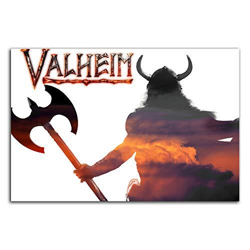 Trelemek Valheim Pannel Wall Decor 36' x 24' 2021 Video Game Poster Art Print Poster Living Room Bedroom Art, Unframed/Frameable
