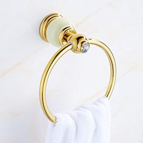 Joeesun Toallero de jade natural de cobre europeo, accesorios de baño, colgante de mármol, toallero de oro, zafiro de anillo de toalla