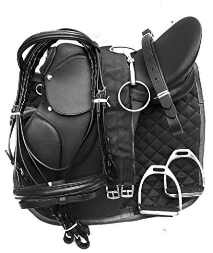 Lussoro Leather English Riding Horse Saddle Starter Kit for Horse 6 Pcs Riding Gift Set (Size 15)