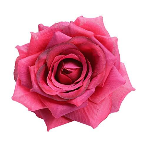 freneci 10 Piezas de Seda Artificial Rosa Cabezas de Flores Ramo de Bricolaje Decoración de La Habitación del Banquete de Boda - Vino Rojo, Individual
