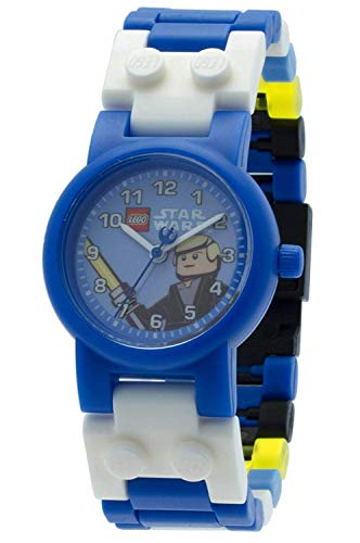 LEGO Star Wars 8020356 Luke Skywalker Kids Buildable Watch with Link Bracelet and Minifigure | blue/white | plastic | 25mm case diameter| analogue quartz | boy girl | official